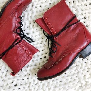 Vintage • Red Leather Lace Up Boots